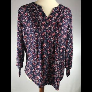 Westport L (12-14) navy & red floral tied tunic